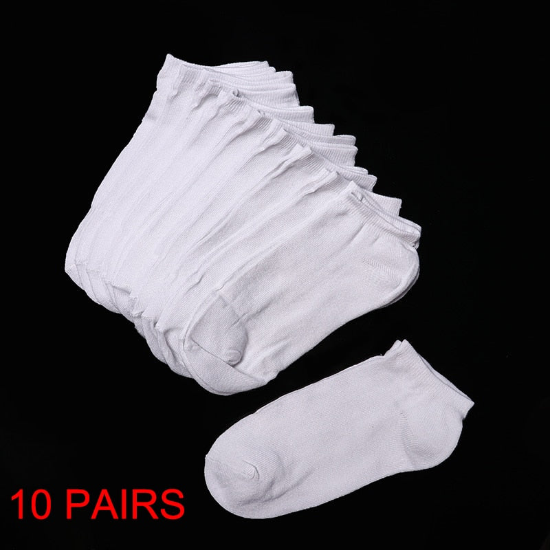 5/10 Pairs Women Socks Breathable Ankle Socks Solid Color Short Comfortable High Quality Cotton Low Cut Sock White Black