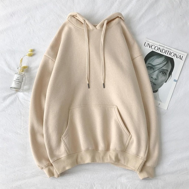 oversized 12 Colors Sweatshirts autumn Women's Solid Hooded Female 2020 Cotton Thicken Warm Hoodies Lady Autumn Fashion Tops