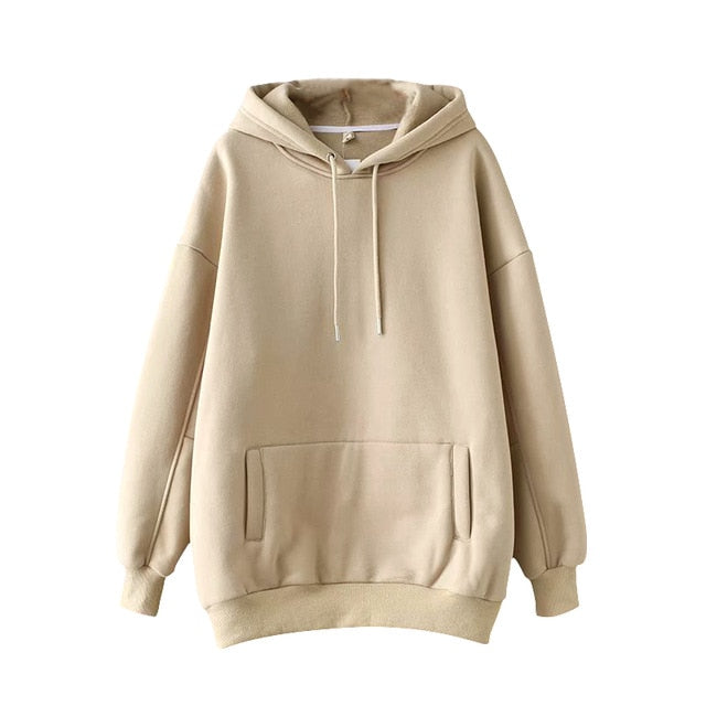 Aachoae Casual Solid Hooded Hoodies Women Batwing Long Sleeve Plus Size Sweatshirts Autumn Pullover Pure Fashion Tops Sudaderas