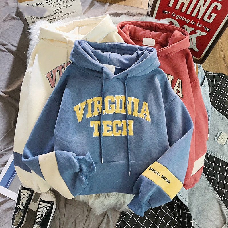 oversized Hoodies Women Thicker Letter Warm Pullover Coat Drawstring Harajuku Sweatshirt Pink Womens Korean New High Quality