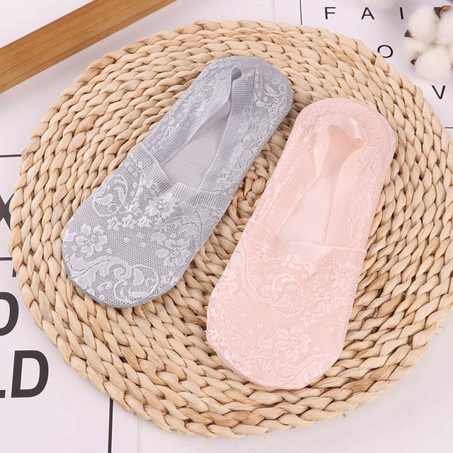 1/2 Pairs Fashion Women Girls Summer Socks Style Lace Flower Short Sock Antiskid Invisible Ankle 2020 Sox Sock Slippers
