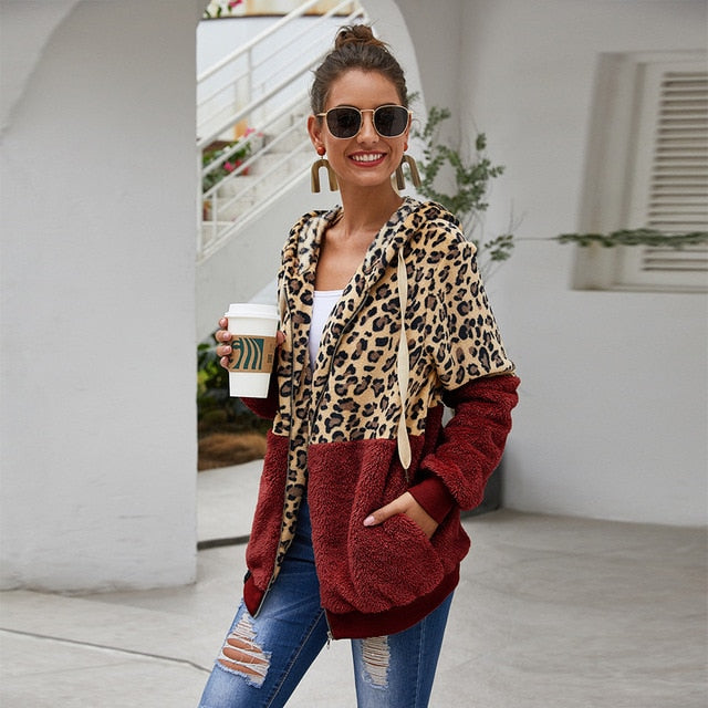Autumn Winter Sweatshirts Women Hooded Leopard Hoodies Casual Zipper Long Sleeve Hoodie Fashion Top Warm Coat Polerones Mujer