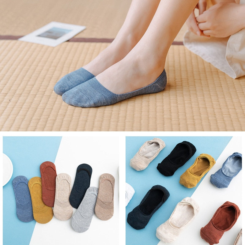 10 pieces = 5 pairs Women Cotton Invisible No show Socks non-slip Summer Solid Color Short Socks Fashion Ankle Thin Slipper Sock