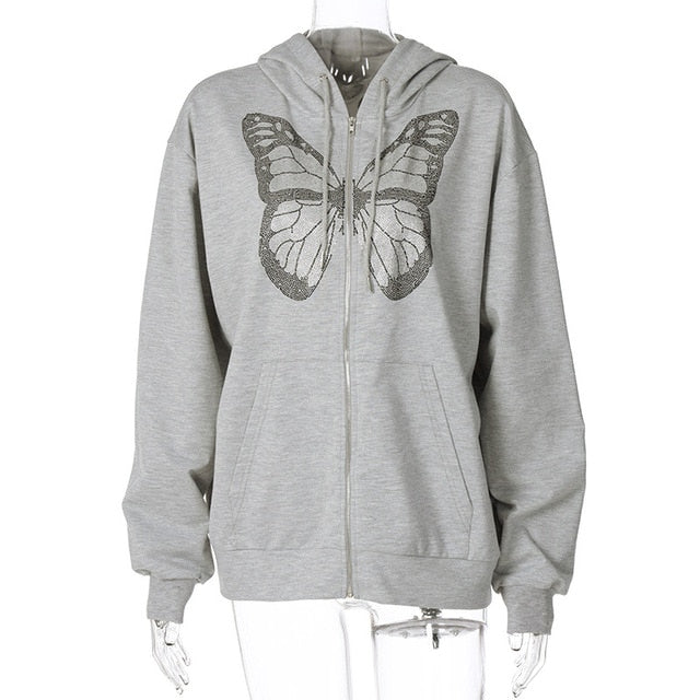 ALLNeon Y2K Fashion Oversized Butterfly Graphic Rhinestone Zip Up Hoodies E-girl 90s Streetwear Diamond Grey Long Jacket Autumn