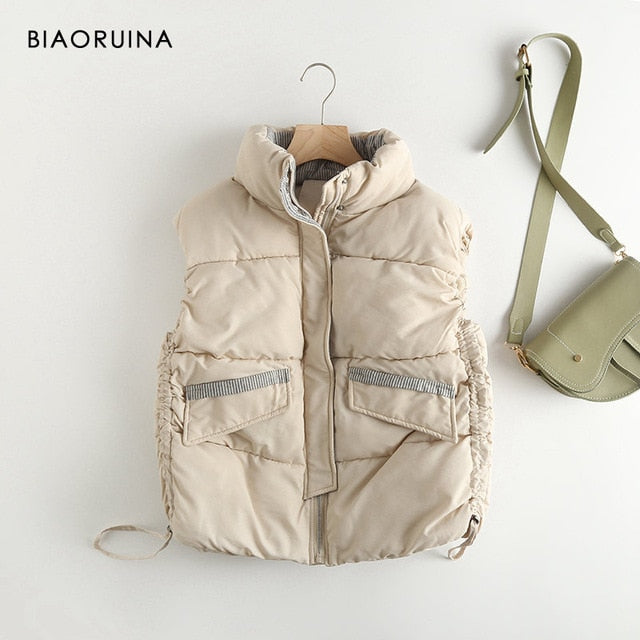 BIAORUINA Women's Korean Style Solid Sleeveless Winter Keep Warm Winter Vest Coat Single Women Breasted Loose Thick Fashion Vest