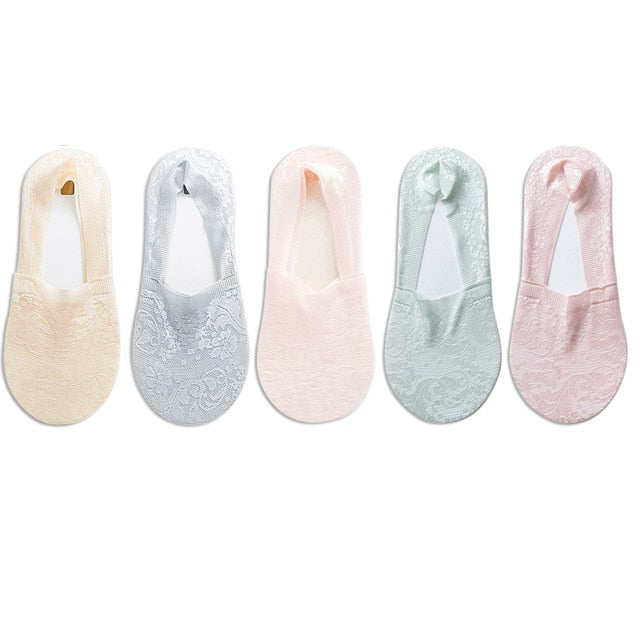 5 Pairs Fashion Women Girls Summer Socks Style Lace Flower Short Sock Antiskid Invisible Ankle Socks 2019 New 7 colors