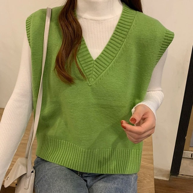 Autumn Sweater Vest Women's Vest  Sweater Korean Elegant Student V-neck Pullover Loose Casual Knitting Tops Outerwear Vest
