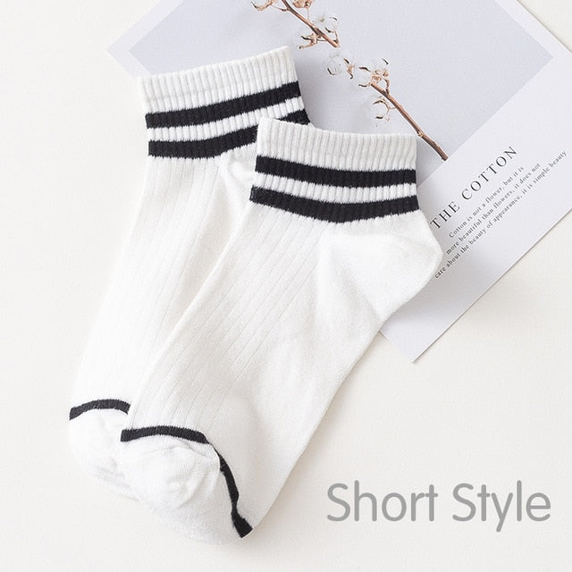 Funny Cute Japanese High School Girls Cotton Loose Striped Crew Socks Colorful Women Harajuku Designer Retro Short Socks 2020