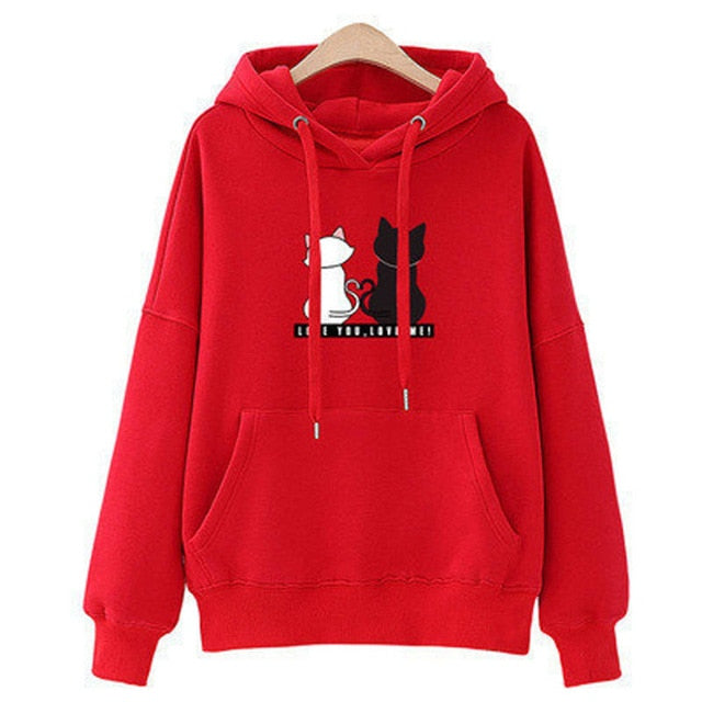 Streetwear Hoodies Women Sweatshirt Autumn Long Sleeve Hoodies Harajuku Hoodie Cute Cat Print Sweatshirt Women Sudadera Mujer