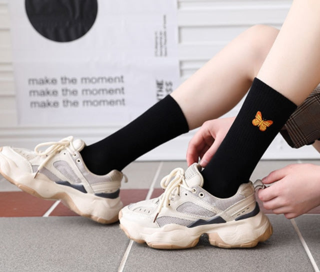 New Butterfly Socks Women Streetwear Harajuku Crew Women Socks Fashion EU Size 35-40  Dropshipping Supply
