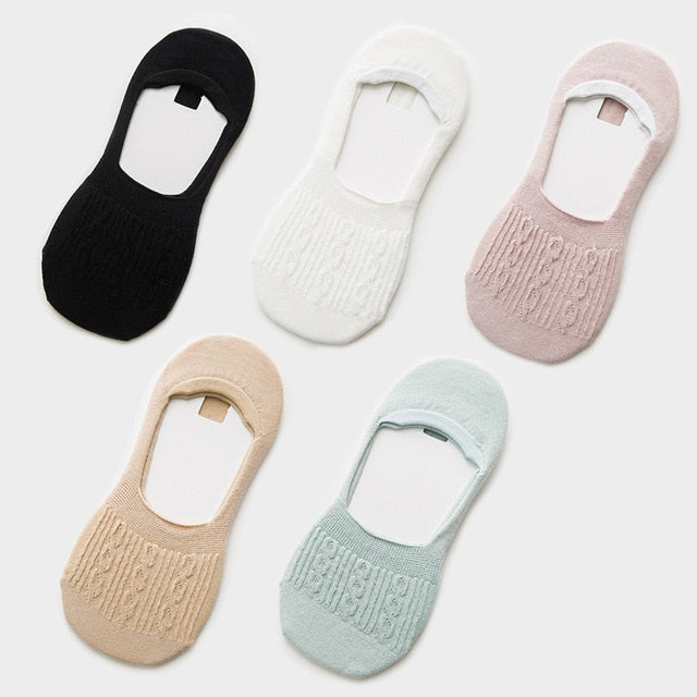 5 Pairs Cotton Women Socks Solid Snowflake Softable funny Socks Women Summer Solid deep mouth prevent heel loss Slipper Socks