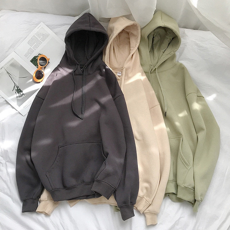 Women Solid Winter Hoodies 13 Colors Warm Oversized Plus Velet Woman Sweatshirts Harajuku Hooded Thicken Female Hoody Tops