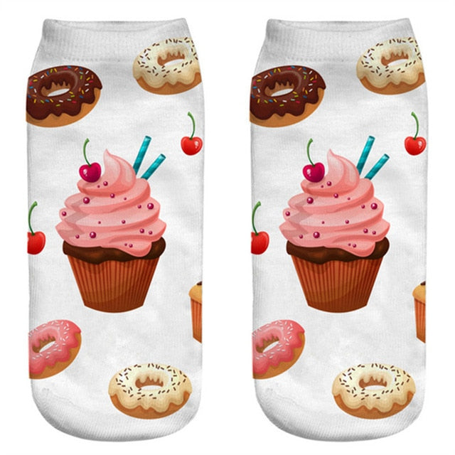 Women Funny Cute 3D Print Foods White Nutella Character Socks Unisex Happy Cartoon Donuts Biscuit Dessert Gift Sokken Dropship