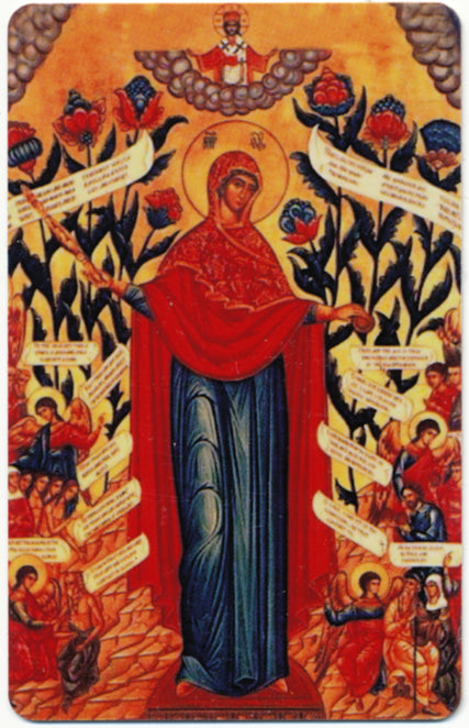 1002 - Orthodox Prayer Card Theotokos Joy of all Who Sorrow