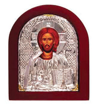 Load image into Gallery viewer, Silver Riza Icon of Christ  or Theotokos X-Small