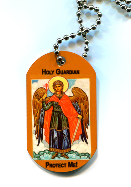 Orthodox Icon Dog Tags with Chain Guardian Angel