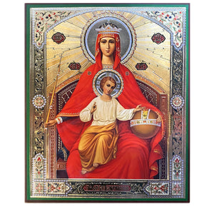 "Queen of Heaven Wooden Gold and Silver Foiled Icon Mounted on Thick Wood 8 1/4""x 6 3/4"""