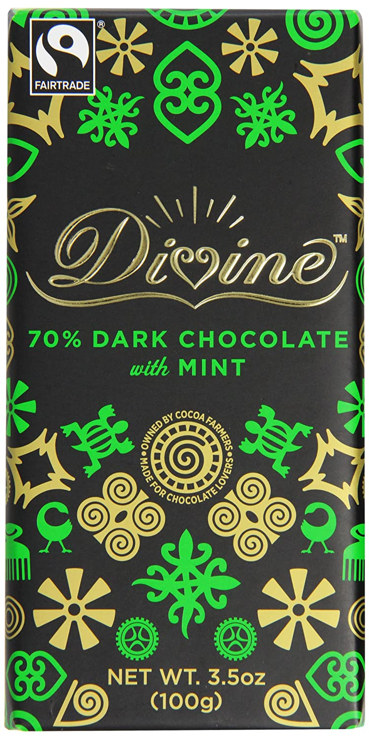DIVINE CHOCOLATE FAIR TRADE Dark Chocolate with Mint 100g