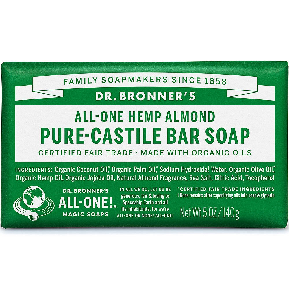Dr Bronners Almond Soap Bar 140g with organic oils
