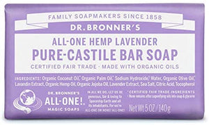 Dr Bronners Lavender Castile Soap Bar 140g with organic oils
