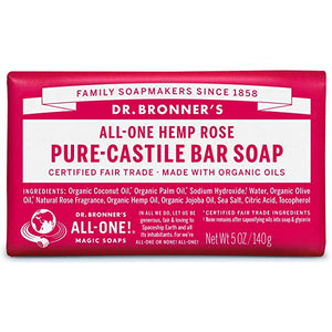 Dr Bronners Rose Castile Soap Bar 140g with organic oils
