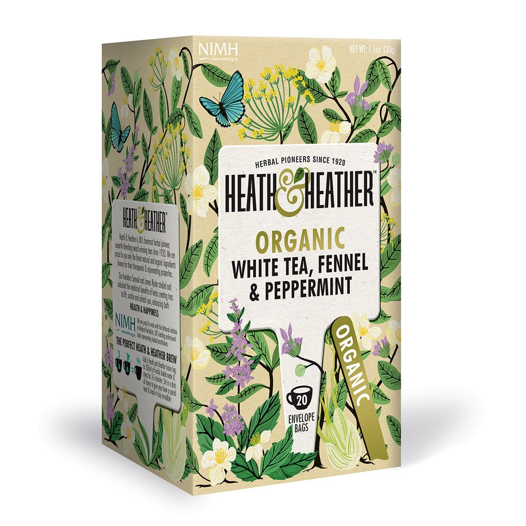 Heath & Heather Organic White Tea, Fennel & Peppermint 20 Bags