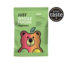 JUST WHOLEFOODS, Organic VegeBears Fruit Jellies - Gelatine Free, 100g VEGAN