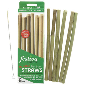 Bamboo reusable drinking straw 6 pack with plastic free cleaning brush