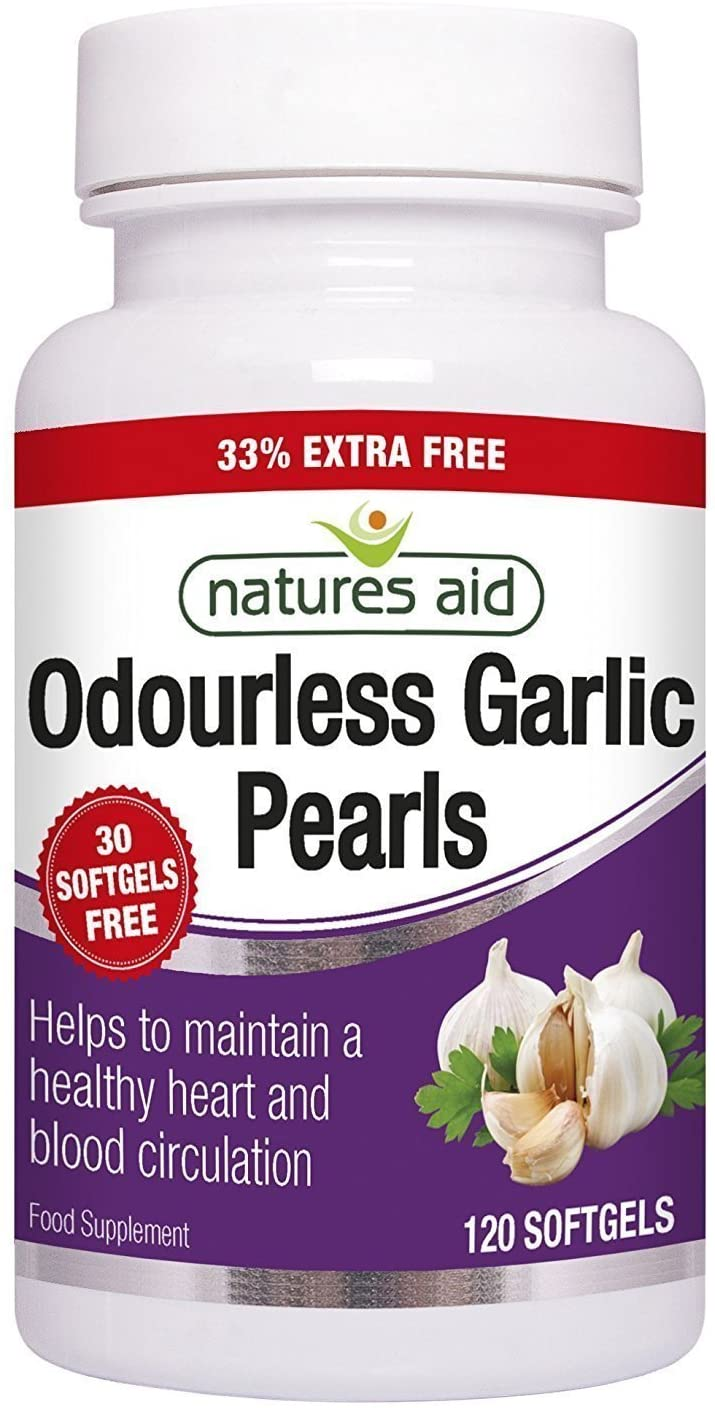 Natures Aid Odourless Garlic Pearls 120 Capsules