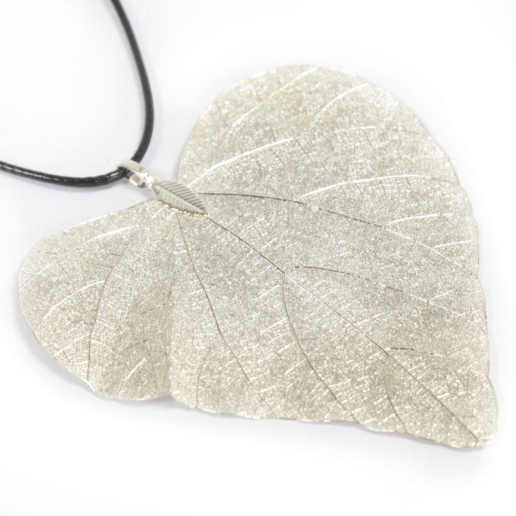 Heart Leaf Necklace Silver