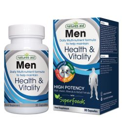 Natures Aid Male Men Multi Vitamin & Mineral 30 capsules with superfoods