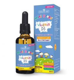 Vitamin D3 400iu (10ug) Liquid for newborn babies & children 50ml
