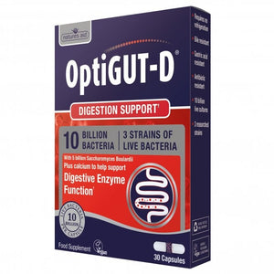 Natures Aid OptiGUT D (NutriGUT D) 30 capsules 10 billion + Glutamine + Vitamin A