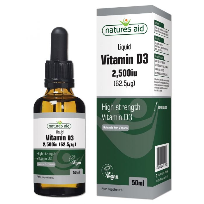 Natures Aid Vitamin D3 50ml 2,500iu / 62.5ug drops high strength VEGAN