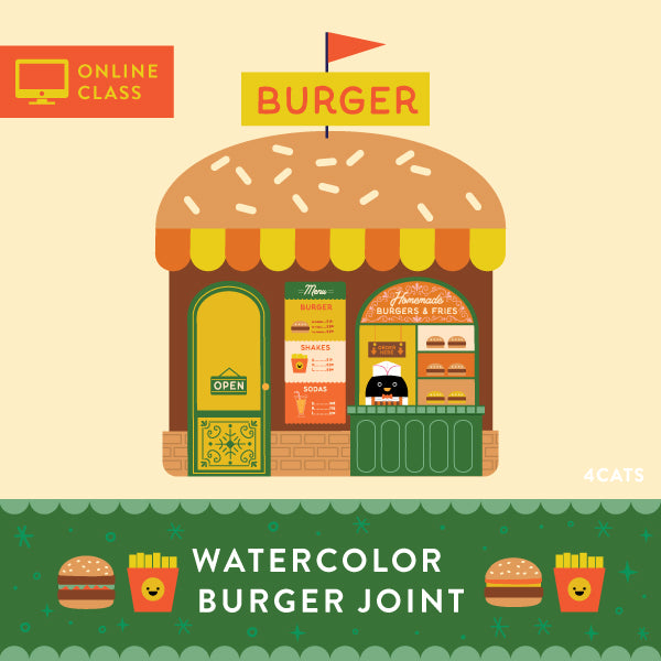 Burger Joint Watercolor | Online Class