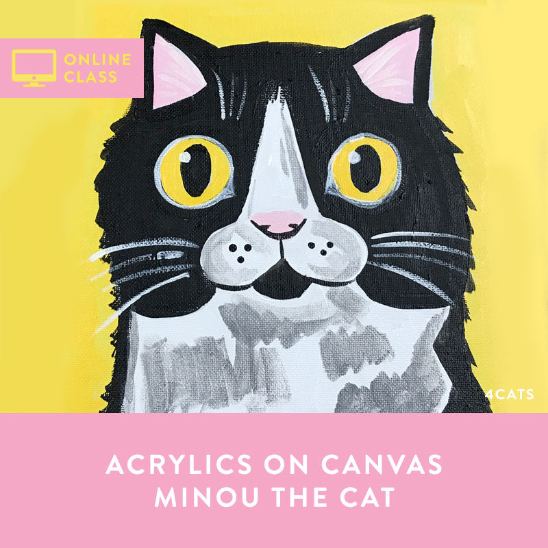 Minou the Cat Acrylic Painting | Online Class