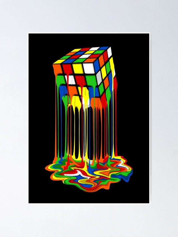 Abstract Rubiks Cube Poster