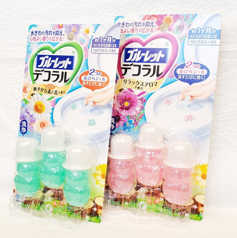 Kobayashi Bluelet dekoraru toilet bowl cleaner (3 single-use tubes)