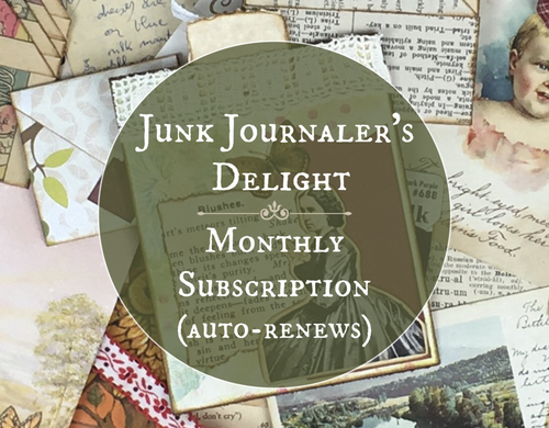 Junk Journaler's Delight monthly subscription box. Vintage ephemera for crafters