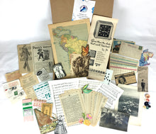 Load image into Gallery viewer, junk journal supplies vintage ephemera box contents