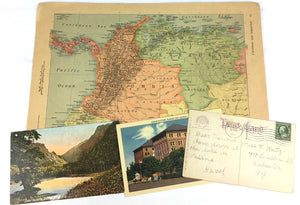 Vintage maps and postcards in subscription box
