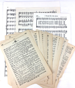 vintage book pages and sheet music
