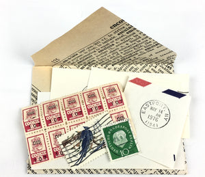 vintage stamps in handmade envelope