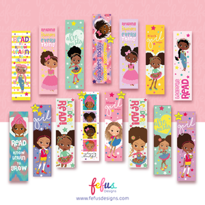 Reading Changes Everything - Multicultural Girls Bookmarks | Fefus designs