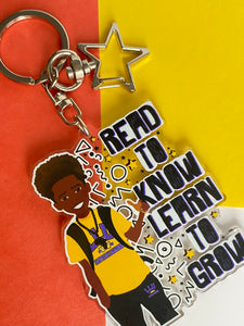 Jamir - Brown Boy Readers Keyring/ Bag Charm | Fefus Designs