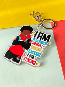 Jamal - Brown Boy Joy Affirmation Keyring/ Bag Charm | Fefus Designs