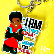Load image into Gallery viewer, Jamal - Brown Boy Joy Affirmation Keyring/ Bag Charm | Fefus Designs