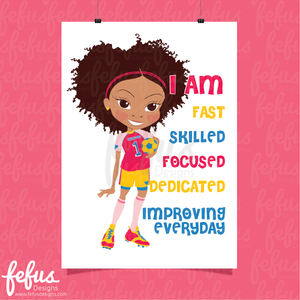 I AM AFFIRMATION GIRLS FOOTBALL WALL ART V2 | Fefus Designs