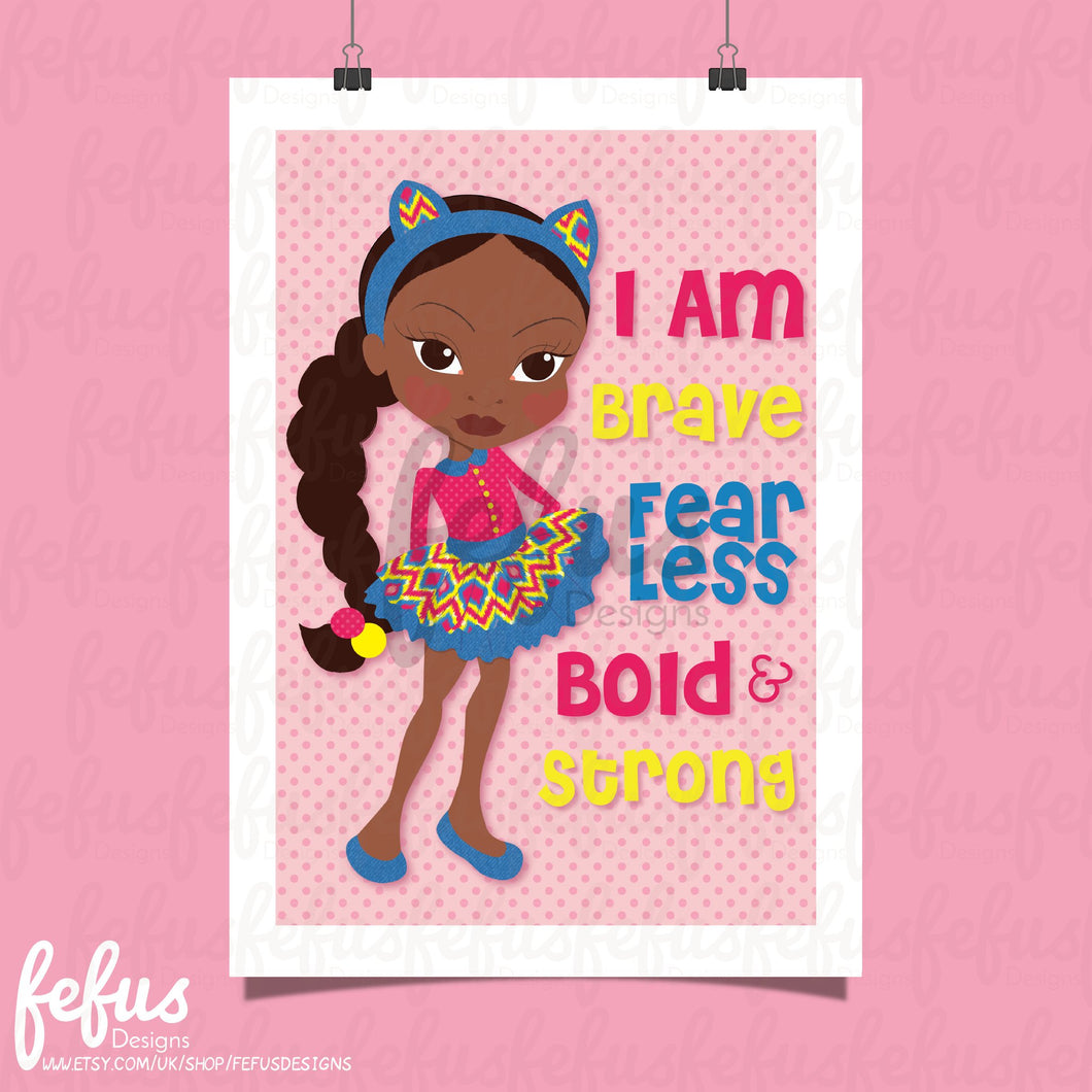 OOPS SALE! I AM GIRLS PINK WALL ART
