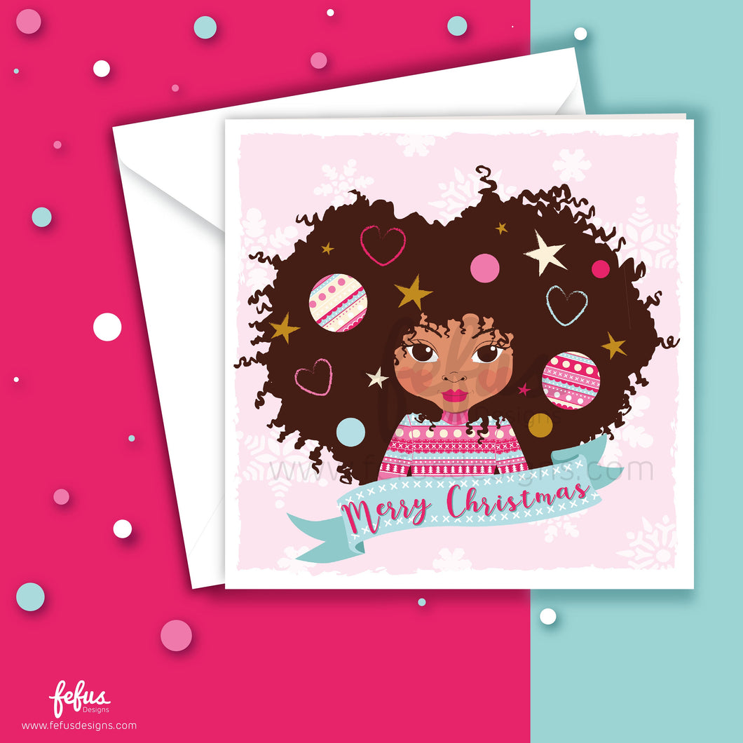 Decorated Afro Girls Christmas Card V1